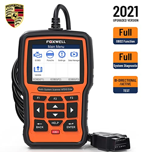 FOXWELL NT510 Elite Full Systems Diagnostic Tool for Porsche, HVAC 4WD Bi-Directional Car Diagnostic Scanner with Oil Reset EPB SAS TPS TPMS Battery Registration Scan Tool