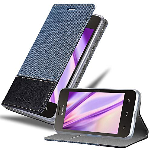 Cadorabo Hülle für Huawei Y330 in DUNKEL BLAU SCHWARZ – Handyhülle mit Magnetverschluss, Standfunktion und Kartenfach – Case Cover Schutzhülle Etui Tasche Book Klapp Style