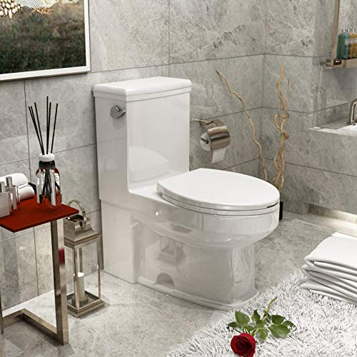 """Mecor One-Piece Toilet Siphon Flushing, Full Flush 1.28Gpf, Soft Closing Quick Release Seat, White 25.9""""Lx15.7""""Wx30.3""""H"""