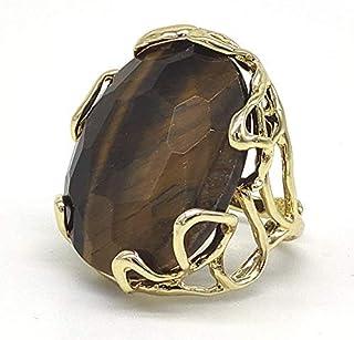 Anello regolabile con cabochon di Occhio di tigre in bronzo, fatto a mano, pietre dure naturali