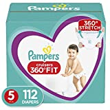 Diapers Size 5, 112 Count - Pampers Pull On Cruisers 360˚ Fit Disposable Baby Diapers with Stretchy Waistband, ONE MONTH SUPPLY