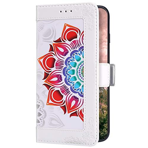 Uposao Compatible con Huawei Mate 10 Pro Funda con mandala colorido flor de móvil de piel Flip Soporte magnético antigolpes Premium Libro Cartera Flip PU Leather Case, Blanco