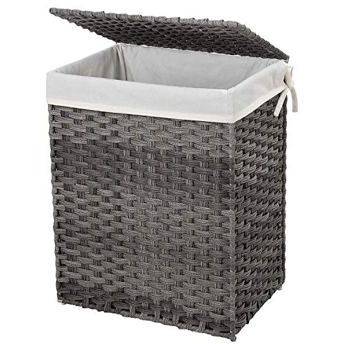 SONGMICS Handwoven Laundry Basket, 90L Synthetic Rattan Wicker Clothes Hamper with Lid and Handles, Foldable, Removable Liner Bag, Stable Iron Frame, Gray ULCB51WG