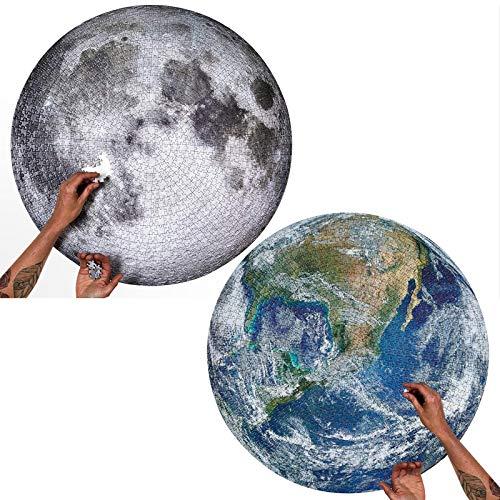 2 Sets 1000 Pièces Puzzles Ronds Puzzle Lune et Terre Grands Puzzles de Pleine Lune Puzzles de Défis Amusants Puzzle de Décompression Jeu de Puzzles Éducatifs pour Adultes Adolescents
