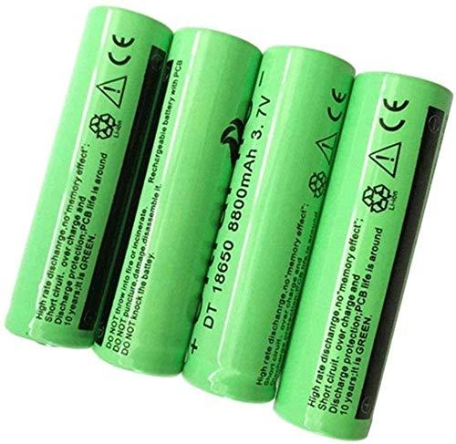 Batería de Litio Recargable 18650 3.7V 8800mAh Baterías de botón de Gran Capacidad para Linterna LED de iluminación de Emergencia Dispositivos electrónicos, etc. 4 Piezas (Verde)