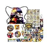Anime Naruto Bag Gift Sets,Including Naruto Drawstring Bag,12 Sheet Naruto Stickers,Post Card,Button Pins,Lanyard,Keychain,Face Mask,Phone Ring Holder