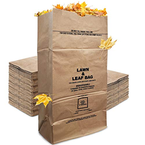 Stock Your Home Eco-Friendly 30 Gallon Kraft Leaf Bag - 10 Count - Heavy Duty Large Paper Trash Bags - Tear Resistant Yard Waste Bags for Grass Clippings, Wet and Dry Leaves, Weeds, and Twigs