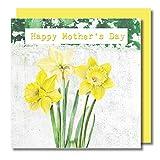 Tarjeta de felicitación para el día de la madre, moderna obra maestra floral con fondo lavado de contraste, interior en blanco