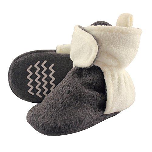 Hudson Baby Unisex Cozy Fleece Booties, Heather Charcoal Cream, 0-6 Months