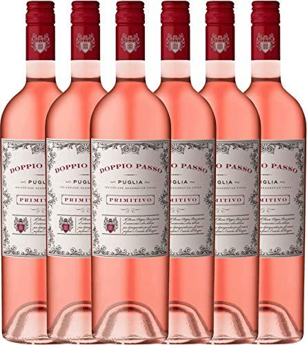 6er Weinpaket Rosé - Doppio Passo Rosato 2018 - CVCB mit VINELLO.weinausgießer | Roséwein halbtrocken | italienischer Sommerwein aus Apulien | 6 x 0,75 Liter