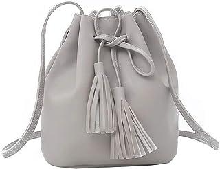 Women Shoulder Bag Bucket Crossbody Bag Girls Drawstring Tassel Massager Shopping Pouch Retro Style