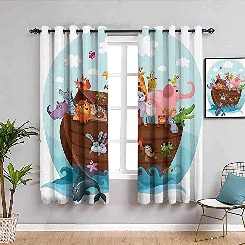 GJJHR Cortina para Ventana Cortinas Termicas - Azul mar dibujos animados animal - 280x240 cm - Cortinas Habitacion Bebe Diseño Cortina para Balcon Salón Habitación y Cámara