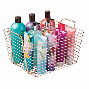 InterDesign Classico Wire Storage Organizing Basket with Handles, Large, Copper