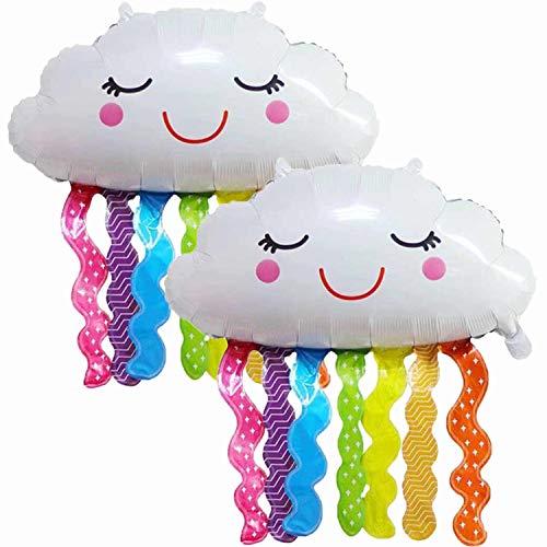 Normout 2x Luftballons Geburtstag in Wolken-Form, Folienballon Geburtstag, Luftballon Wolke als Party Zubehör. Für Baby Party oder Geburtstagsdeko kinder Ballon Geburtstag Ca 75 x 80 cm Baby Ballon