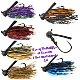 #2700 Best Bass Jigs Set Kit Bulk with Trailers (92018: 6 of Pack Football Jigs (5/0,1/2oz))