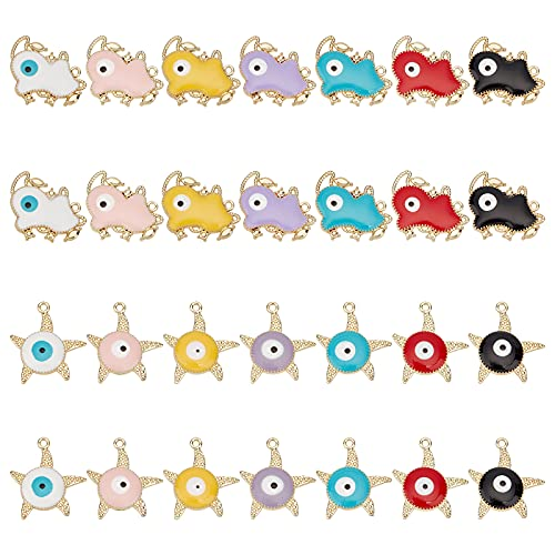 arricraft 28 Pcs Enamel Alloy Evil Eye Charms, Includes 14 Pcs Cow Shaped and 14 Pcs Starfish Shaped Dangle Charms for Necklace Bracelet Earring Jewelry Making