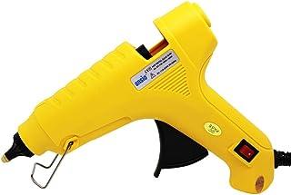 Pistola de silicona de 60 vatios y 11 mm Boquilla de latón con protección de goma de silicona - Ideal para manualidades, oficinas y decoración, las barras de pegamento no están incluidas - Amarillo