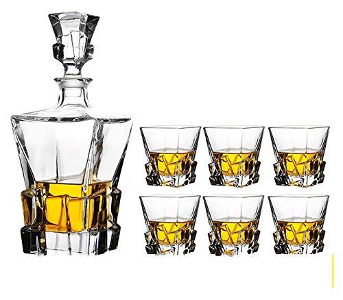 Decanter per vino, Distributore di bottiglia di liquori 7- pezzo Set di regalo del whisky del whisky per gli uomini, 800 ml Decantatore del liquore di base del cubetto di ghiaccio con occhiali da 320