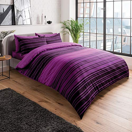 Sleepdown Textured Stripe Purple Duvet Cover & Pillowcase Set Bedding Quilt Case Single Double King Super King (Double)