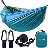 Double Hammock,Camping Hammock with 2 Tree Straps(16+2 Loops),Two Person Hammocks with 210T Nylon Parachute Portable Lightweight Hammock for Backpacking,Outdoor,Beach, Travel,Hiking,Camping Gear