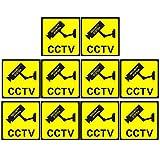 Her Kindness 10 Piezas CCTV en Señales de Operación,Señales Autoadhesivas de CCTV,CCTV Seguridad Warning Sign,Warning Sign(110mm X 110mm)