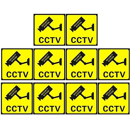 Her Kindness 10 Pezzi Segno CCTV Cartello Attenzione Area Videosorvegliata,Impermeabile Sign Autoadesivo per Interni ed Esterni (110 mm x 110mm)