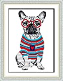 Cross Stitch Kits, French Bulldog Dogs Animals Glasses Awesocrafts Easy Patterns Cross Stitching Embroidery Kit Supplies Christmas Gifts, Stamped or Counted (Bulldog Dogs, Stamped)