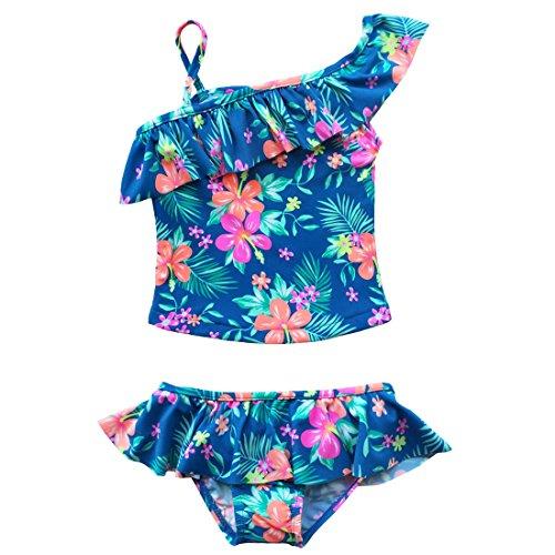 iiniim Traje de Baño de Dos Piezas para Niña Bañador Infantil Bikini Conjunto Tankini Floreado Estampado Ropa de Baño Natacion Verano Azul 4-5 Años