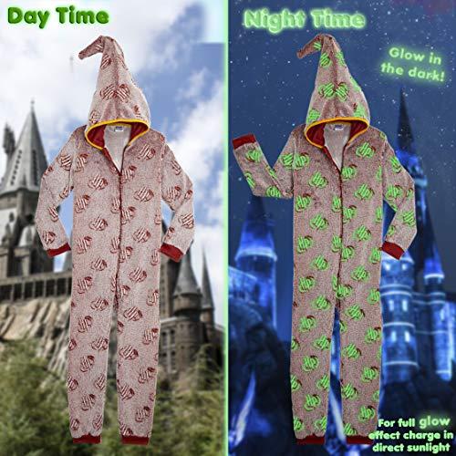 HARRY POTTER Pijamas de Una Pieza Que Brillan En La Oscuridad,Mono Infantil Entero Extra Suave con Capucha de Mago, Disfraz Ropa Invierno Niño,Regalos Originales Niña Niño (11/12 años)