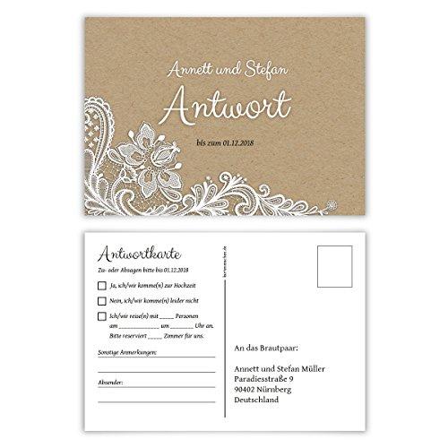 50 x Antwortkarte Hochzeit Hochzeitskarten Antwort Postkarte - Rustikal Kraftpapier Look