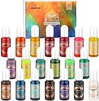 MENNO Kleur Pigment, (20 x 10 ml) vloeibare Epoxy Pigment Hars Kleurstof Epoxyharsverf Zeepkleurstof Resin Kleurstof...
