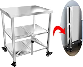 Serving Trolley Cart Kitchen Movable Foldable Stainless Steel Beam Trolley Universal Wheel with Brake 3 Tier Storage-for Catering Kitchen Storage Utility Cart