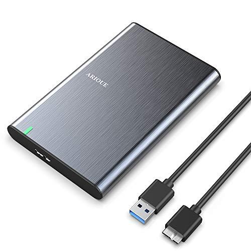 ARIOUE USB 3.0 Festplattengehäuse 2,5 Zoll USB 3.0 Externes Gehäuse für SSD und HDD in Höhe 9.5mm/7mm UASP unterstützt, SATA Gehäuse mit USB 3.0 Kabel, werkzeugfreie Montage - Grau