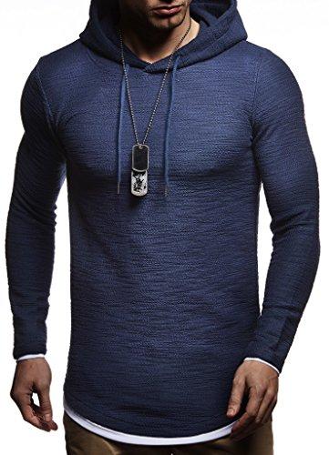 Leif Nelson Herren Kapuzenpullover Slim Fit Baumwolle-Anteil Moderner weißer Herren Hoodie-Sweatshirt-Pulli Langarm Herren schwarzer Pullover-Shirt mit Kapuze LN8120 Dunkel Blau Medium