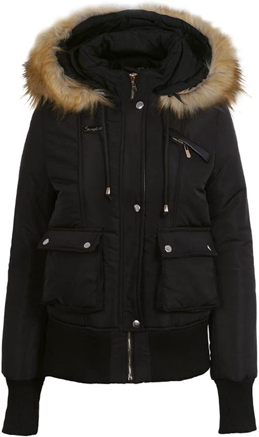 Winter Women Coat Fur Warm Pocket Zipper Overcoat Thick Jacket Coat