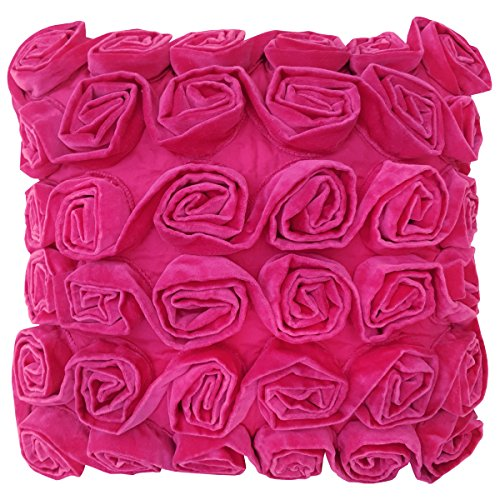 Ragged Rose – Rufus – Cojín de Terciopelo con Motivo Floral, Color Rosa – 40 x 40 cm