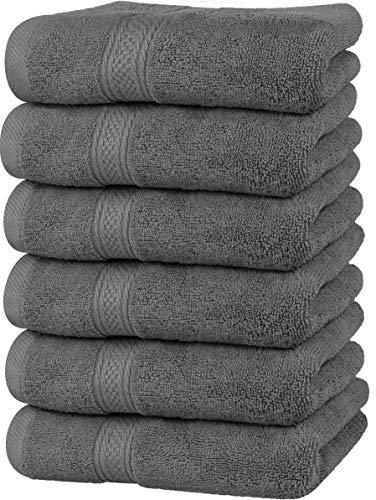 Utopia Towels - Toallas de Mano Grandes de algodón multipropósito para baño, Manos, Cara, Gimnasio y SPA - Dimensiones 41 cm x 71 cm - Paquete de 6 (Gris)