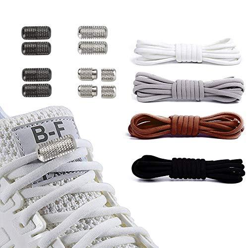 GUIFIER 4PCS Lacets Élastiques avec Fermoir en Métal Lacets sans Laçage Elastic No Tie Lacets de Chaussures Lacets Élastiques Adaptés à Toutes les Chaussures Blanc Brun Noir Gris