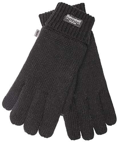 EEM Damen Strick Handschuhe JETTE mit Thinsulate Thermofutter aus Polyester, Strickmaterial aus 100% Wolle; schwarz, S