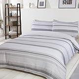 Sleepdown Stripe-Bedding-Set-Super King-Grey Chambray-Juego de Ropa de Cama Reversible y Fundas de Almohada de Color Gris, Mezcla de algodón, Matrimonio Grande