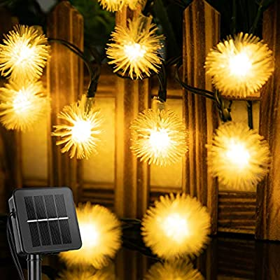 Solar Snow Ball String Lights Outdoor 35.6 FT 60 LED Waterproof Fairy Lights with 8 Lighting Modes, Solar Powered Decorative Lights for Patio Yard Garden Wedding Christmas Party(Warm White)