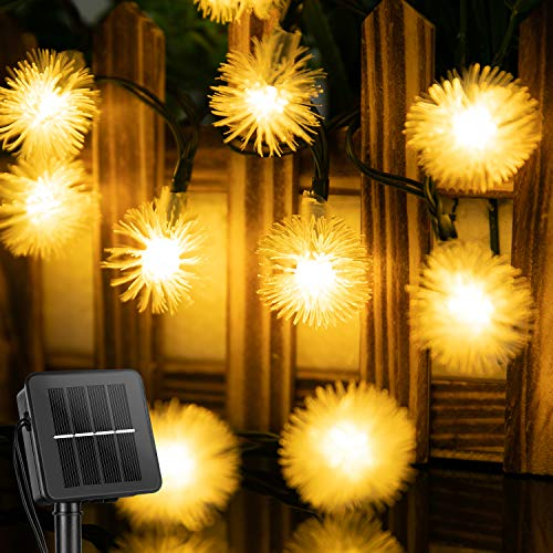 Solar Snow Ball String Lights Outdoor 35.6 Feet 60 Led Waterproof Fairy Lights with 8 Lighting Modes, Solar Powered Decorative Lights for Patio Yard Garden Wedding Christmas Party(Warm White)