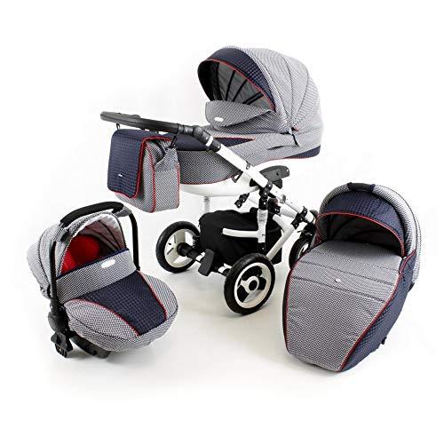 Lux4kids Tr/ío Cochecito 3 in 1 Silla de paseo ruedas fijas silla para coche VIP Hecho en Europa Accesorios opcionales iCaddy GT-plata flowerpower capazo