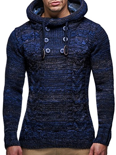 Leif Nelson Herren Strick-Pullover Strick-Pulli mit Kapuze Moderner Winter Woll-Pullover Langarm-Sweatshirt Slim Fit LN20227 Dunkel Blau Large