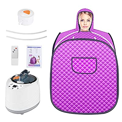 TOPQSC Portable Steam Sauna Spa,Suana Home, Personal Physiotherapy Center for Detoxification at Home,Sauna Spa Machine with 2L Steam Stove with Remote Control, Purple
