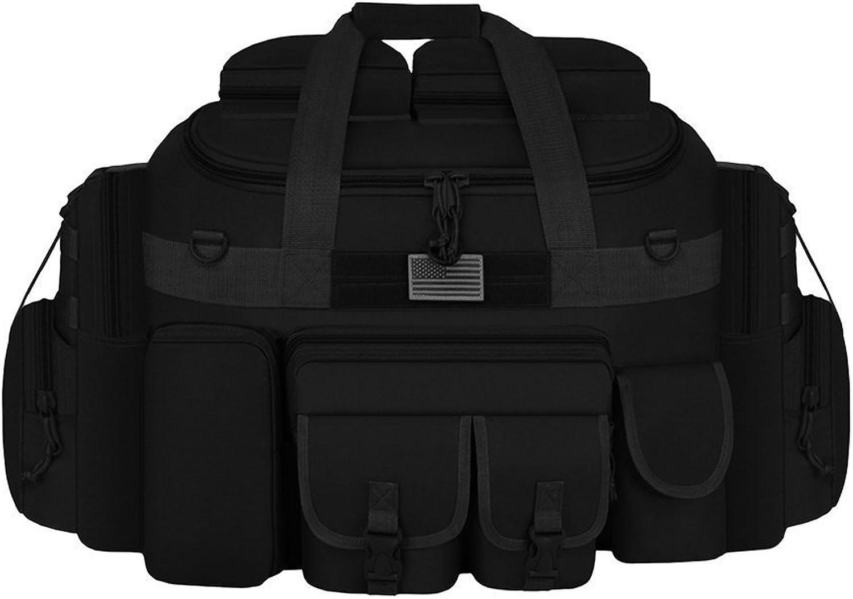 East West U.S.A. Tactical Outdoor Multi Pockets Heavy Duty 35  Duffel Bag, Outdoor Sports Bag, Black