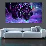 N / A Pintura sin Marco Modern Galaxy Star Tiger Canvas Painting Mural Animal Living Room DecorationZGQ8099 60x105cm