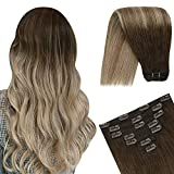 YoungSee 18inch Human Hair Clip in Extensions Balayage...