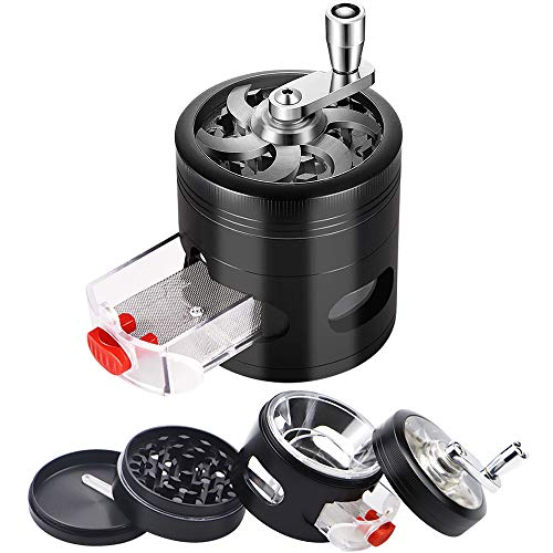 "BLOCE 2.5"" Herb Grinder, 4 Piece Premium Hand Cranked Design Herb Grinder with Pollen Catcher, Zinc Alloy Grinder with Drawer and Powder Separator"