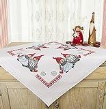 Kamaca - Set per ricamo a punto croce, motivo innamorati, tovaglia e filo da ricamo in 100% cotone
